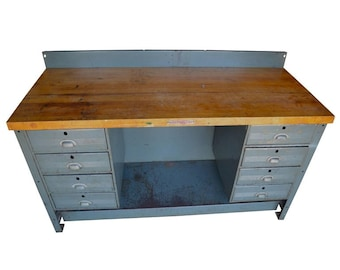 Industrial Desk with Maple Top and Steel Frame by Hallowell