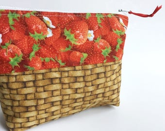 Strawberry Basket Zippered Pouch