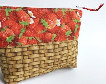 Erdbeere Korb Reißverschlusstasche