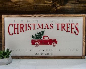 "12""x24""   Tree Farm - Framed Wood Sign"