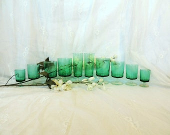 Luminarc Cavalier turquoise glasses, champagne, water, red wine, white wine, and liqueur, dinner for two