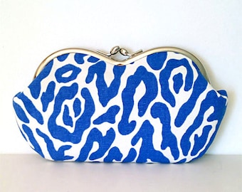 Large sunglass case, Cool Ultramarine Blue Animal Print Canvas, sunglasses case or small clutch