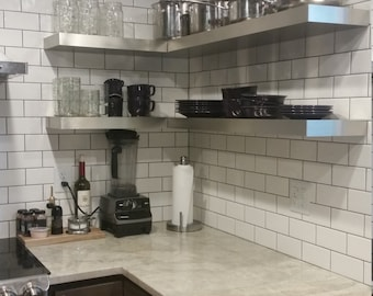 Modern Stainless Steel Floating Shelf,kitchen stainless steel shelves( Laminated with thin stainless on the plastic-laminate base )