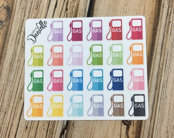 Gas Planner Stickers, Fuel Tracker Stickers, Car Planner Stickers, Gas Pump Stickers, Gas Stickers, set of 23