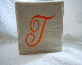 "Monogrammed Natural Linen Tissue Cover -  Aurora Darling  Lettering ""T"""
