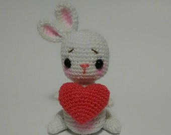 Valentine's Day gift crochet bunny with heart white bunny amigurumi bunny Valentine's bunny