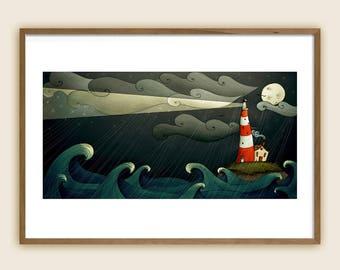 Art Print - Children's Illustration: Lighthouse