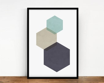 Geometric Wall Art, Hexagon Print, Geometric Art, Geometric Wall Decor, Abstract Art, Printable Digital Art, Origami Print, Digital Print