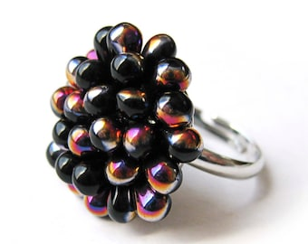 Black Berry Cluster Ring, Jet Iridescent Cocktail Ring, Black Ring, Black Beaded ring, Glass Statement ring, Funky Ring Ready to ship gift