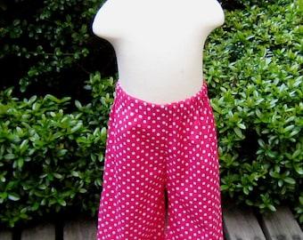 Hot Pink Polka dots  Ruffle Pant, Ruffle Pant, Ruffled Pant, Summer Pant, Girl Pant