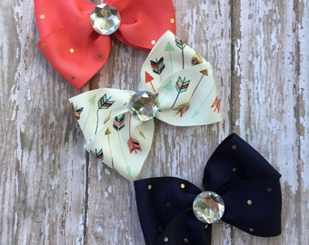 Girls Hair Bow Boutique Hair Bow Set Boutique Bow Pinwheel Hair Bow Set Mini Bows Navy, Cream, and Coral Spring Hair Bows Ready To Ship