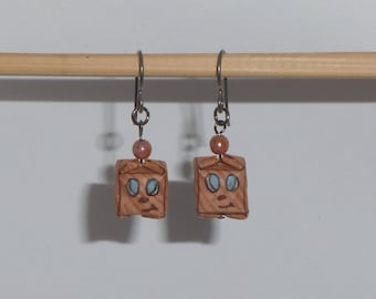 Markiplier's Tiny Box Tim | Hypoallergenic Origami Earrings made with Niobium Hooks