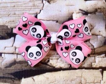 Pink Panda Bow - Hair Bow - Panda Hair Clip - Panda Bear Hair Bow - Panda Pigtails
