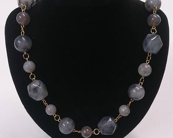 Grey block necklace