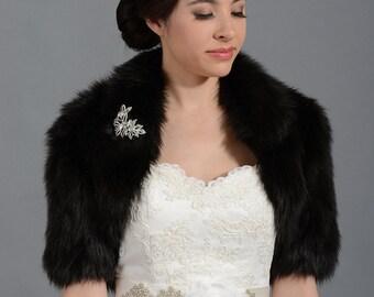 Black faux fur bolero faux fur shrug FB005-Black