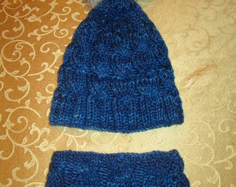Brilliant Blue Cabled Cap and Neck Warmer