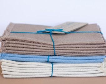 Table Napkins - Natural Fringed - Hemp / Organic Cotton - Set of 6 - Table Linen