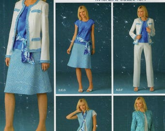 Simplicity 4241 Free Us Ship Threads Sewing Pattern Suit Jacket Skirt Blouse Pants 8/16 Size 8 10 12 14 16 Bust 31 32 34 36 38 Uncut New