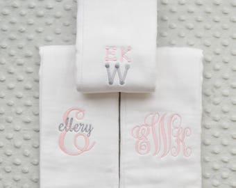 Monogrammed Burp Cloths Girl, Monogrammed Burp Cloths, Burp Cloths Girl, Baby Burp Cloths, Baby Shower, Girl Burp Cloths