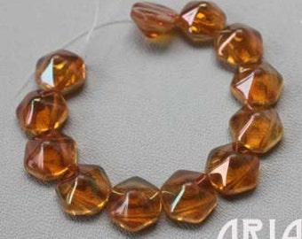 APRICOT: 12mm Czech Glass Pyramid Hex Two Hole Bead (12 beads)