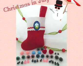 Holiday Craft Gift Assortment 12 Pair Safety Eyes & 10 Noses 6mm to 15mm Crochet Amigurumi Sewing Knitting Crafts, Gifts Holiday Decor