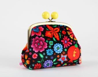 Metal frame clutch bag - Fleurs du Mexique - Color bobble purse / French velvet / Mexican flowers / Red blue green yellow purple black green