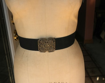 Vintage Brown Elastic Fashion Belt with Brass Tone Sparkle Buckle