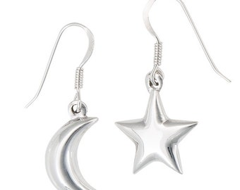 Moon and Star Earrings - Celestial Earrings - Sterling Silver Moon Earrings - 3D Charms - 925 Sterling Silver Amulet