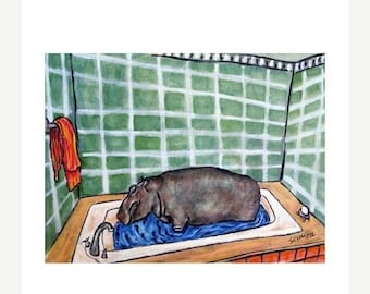 25% off Hippopotamus Taking a Bath Hippo Art Print