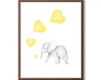 Kids Room Art, Yellow and Gray Nursery Art, Elephant Nursery, Elephant Watercolor Print, Hearts, Bubbles, Baby Elephant Wall Art, E287