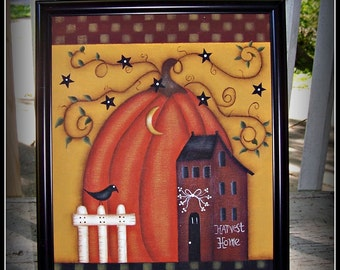 Primitive Fall Autumn Pumpkin Saltbox House Canvas Framed Home Decor