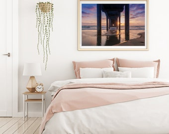 Scripps Pier Sunstar Sunset Photo Print | San Diego Wall Art | Beach Home Decor | Pier Picture Images | Nature and Landscape Photography |