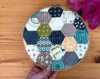 Sunday Supper Quilted Hoop Art
