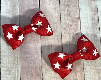 Red Bow Clip, Set of Two