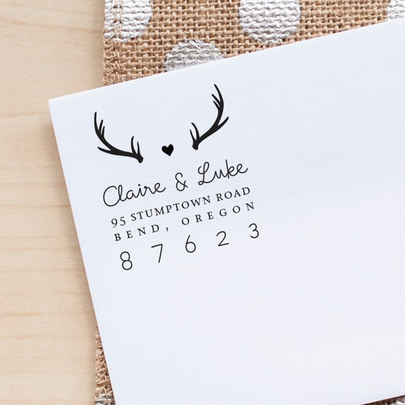 Personalized Return Address stamp, Antlers Address Stamp, Wedding Invitation stamp, personalized gift for women, address stamp, housewarming