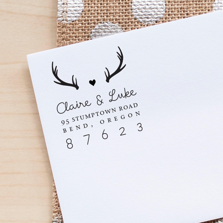 Personalized Return Address stamp, Antlers Address Stamp, Wedding ...
