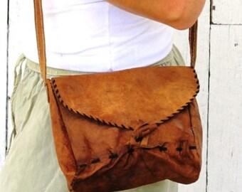 Raw Organic Leather Bag | Fair Trade Buffalo Leather Bag SMALL