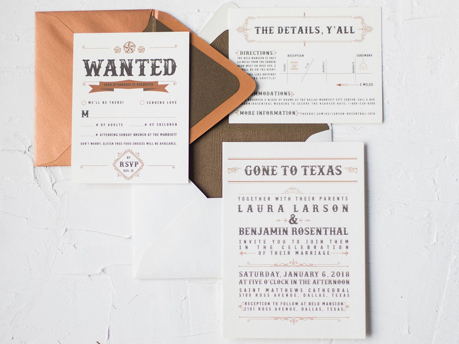 Country Western Wedding Invitations Rustic Invitation Set