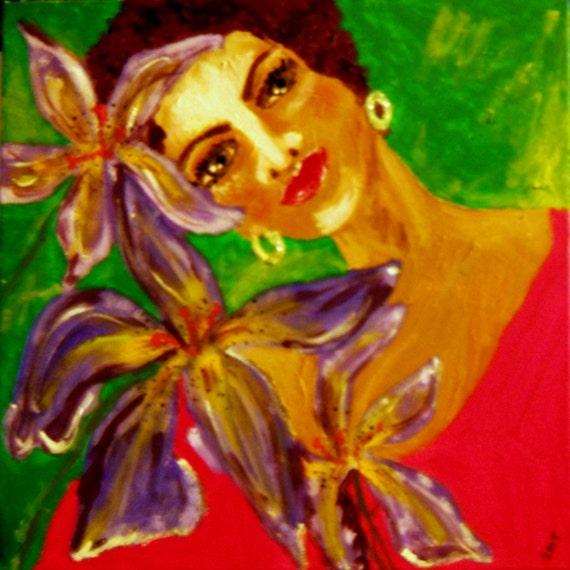 "AUNT MATTIE - Acrylic on 12 x 12"" Canvas. Outsider Folk Art by African American Folk Artist Stacey Torres"