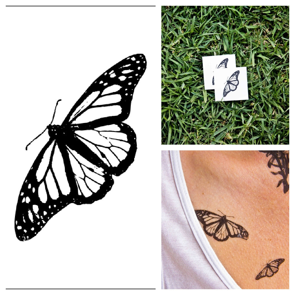 Butterfly temporary tattoo set of 2 for Custom temporary tattoos no minimum