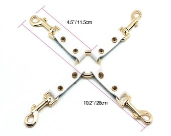 BDSM 4-way hog-tie,White Leather,connector with beads, restraints,bdsm accessory, bondage restraint,bondage hogtie(mature)
