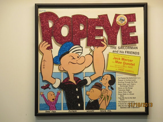 Glittered Record Album - Popeye the Sailorman and his Friends