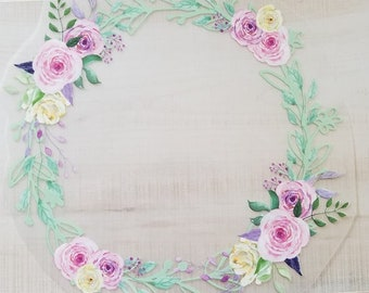 Adult Custom Tee Floral Wreath Transfer - Custom Initials