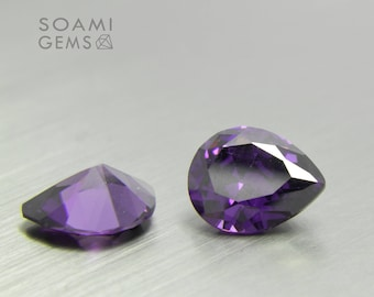 Loose Cubic zirconia purple, 5x8, 6x9, 7x10, 11x9  mm pear cut amethyst loose cubic zirconia faceted gem