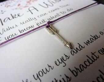 Wish Bracelet - Arrow Charm / Direction / Guidance / Spirit / Spiritual Gift / Archery / Follow your path / Choice of Colours / Wish Knots