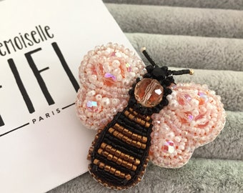 """Embroidered brooch """"Bee"""""""