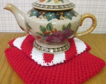 Crochet Potholder Red w/ White - Set of 2 Potholders/Trivet