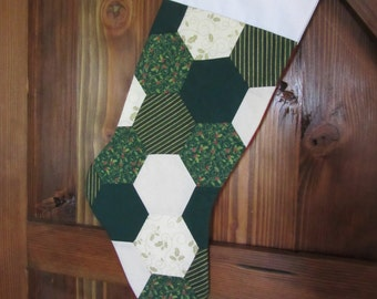 Quilted Christmas Stocking, Green, Gold and Red Sparkly Christmas Stocking, Hexi Christmas Stocking,  Stocking Holiday Decor,