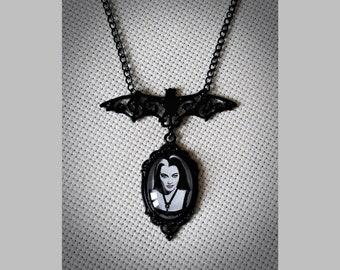necklace cameo black Lily Munster the munsters tv series Yvonne De Carlo bat vampire vamp gothic dark horror halloween vintage psychobilly