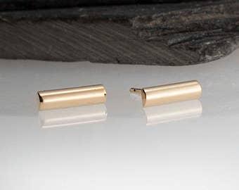 14K Solid Yellow Gold 8.75mm Bar Earrings, All Solid Gold Studs, Minimalist Earrings, Handmade Jewelry, Modern Earrings, Dainty Studs
